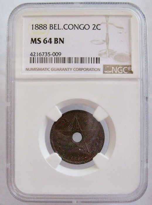 Belgian Congo - 2 Centimes 1888 - In NGC slab MS64 BN - Copper