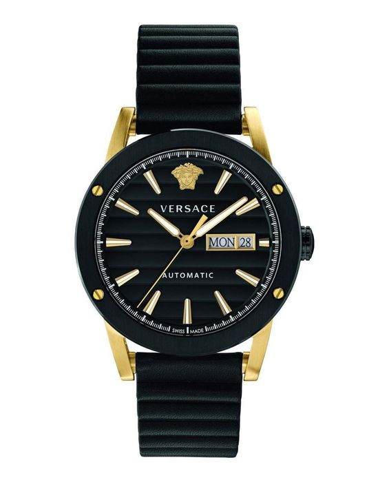 Versace - Automatic Theros Black PVD IP Gold Leather Strap Swiss Made - VEDX00419 - Heren - Brand New