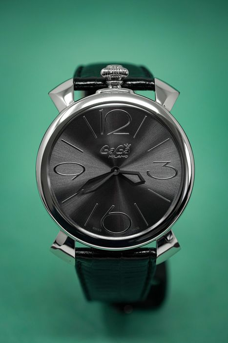 GaGà Milano - Manualle Thin 46MM IP Black Leather Strap Swiss Made - 5090.03 - Unisex - Brand New