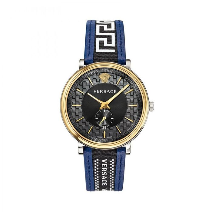 Versace - V-Circle IP Gold & Steel Blue Leather Strap Swiss Made - VEBQ01419 - Heren - Brand New