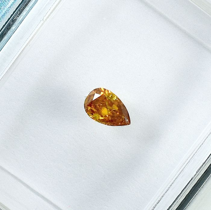 Diamant - 0.12 ct - Poire - Natural Fancy Deep Orangy Yellow - Si2 - NO RESERVE PRICE
