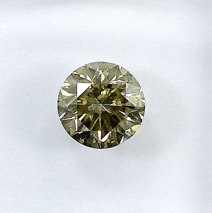 Diamant - 0.70 ct - Brillant - Natural Fancy Light Grayish Yellow - Si1 - NO RESERVE PRICE