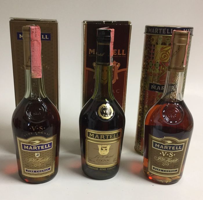 Martell - VS - b. 1980s, 1990s - 70cl - 3 bottles