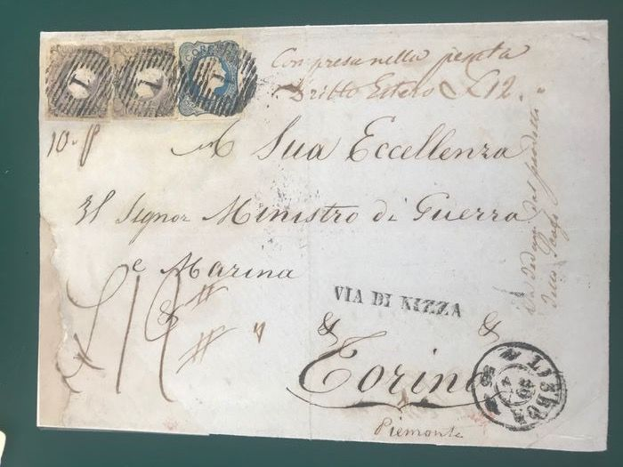 Portugal 1853/1855 - Front with two 100 Reis stamps of the first emission and 25 Reis of the second emission - Afinsa 4(2x) en 7