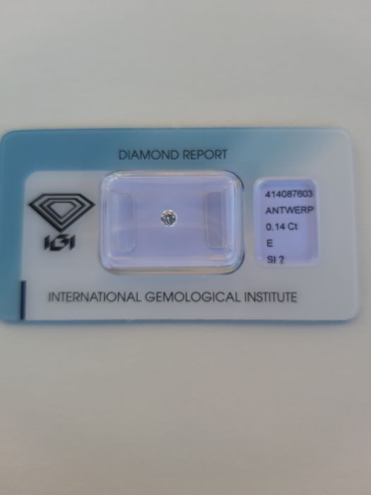 1 pcs Diamond - 0.14 ct - Brilliant, Round - E - SI2