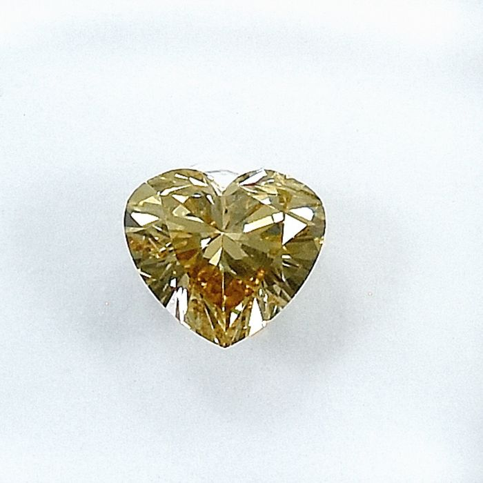 Diamant - 0.50 ct - Herz - Natural Fancy Light Orangy Yellow - SI2