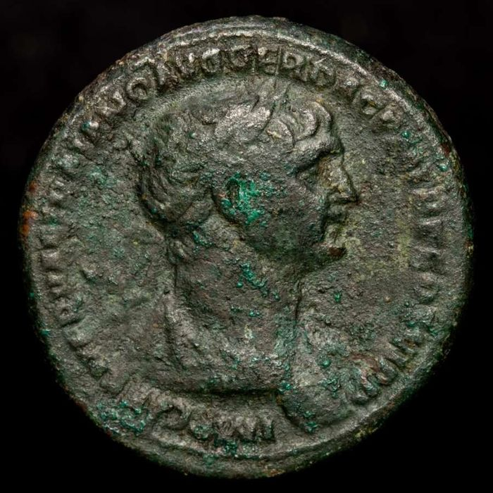 Romeinse Rijk - Æ As,  Trajan (98-117 A.D.) Rome - SPQR OPTIMO PRINCIP SC, Victory holding wreath and palm over shoulder