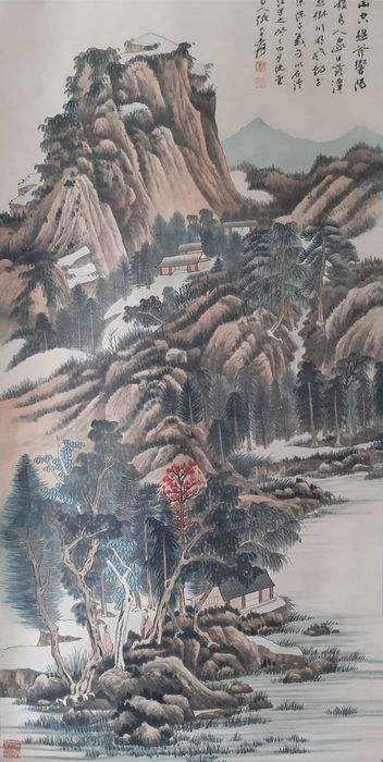 Inkt landschap - Rijstpapier - 《日落山空图》Made after Zhang Daqian - China - Tweede helft 20e eeuw