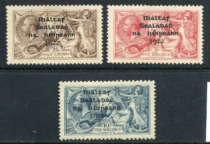 Ireland 1922 - Seahorses with 'Thom' overprint in bold shiny blue black - Stanley Gibbons 44, 45, 46