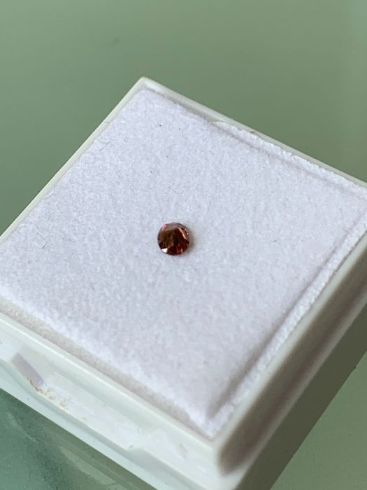 1 pcs Diamond - 0.09 ct - Oval - fancy dark pink brown - Not mentioned on certificate