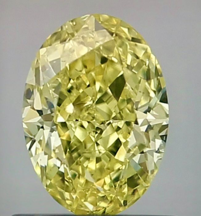 1 pcs Diamant - 0.74 ct - Oval - fancy yellow - SI2