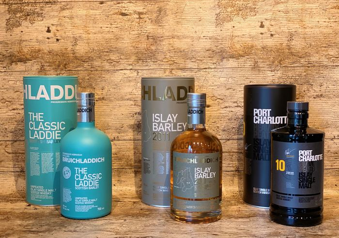 Bruichladdich The Classic Laddie - Islay Barley 2011 - Port Charlotte 10 years old - 700ml - 3 bottles