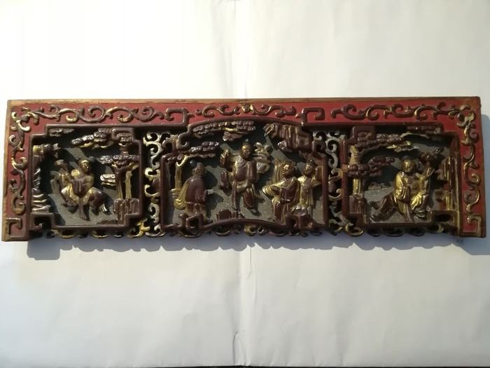 Panel - Gilt lacquered wood - China - Late 19th century