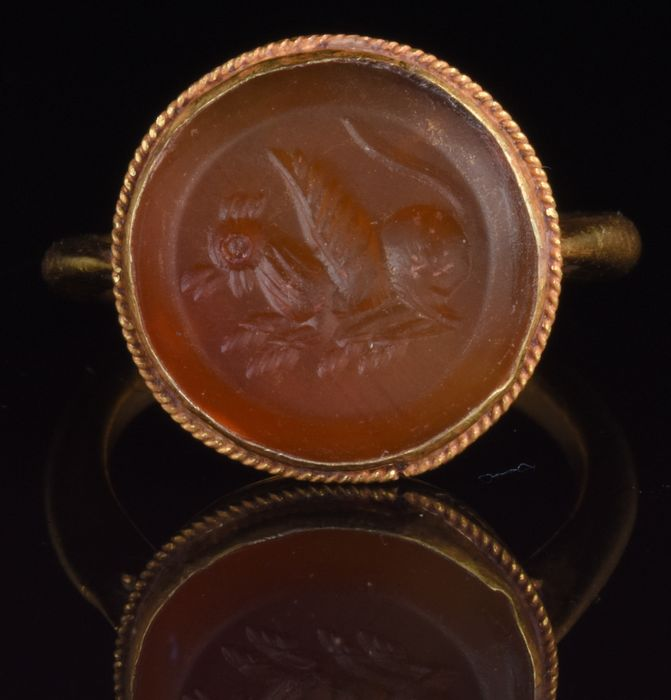Sasanian Carnelian Intaglio of Mythical Creature in Gold Ring