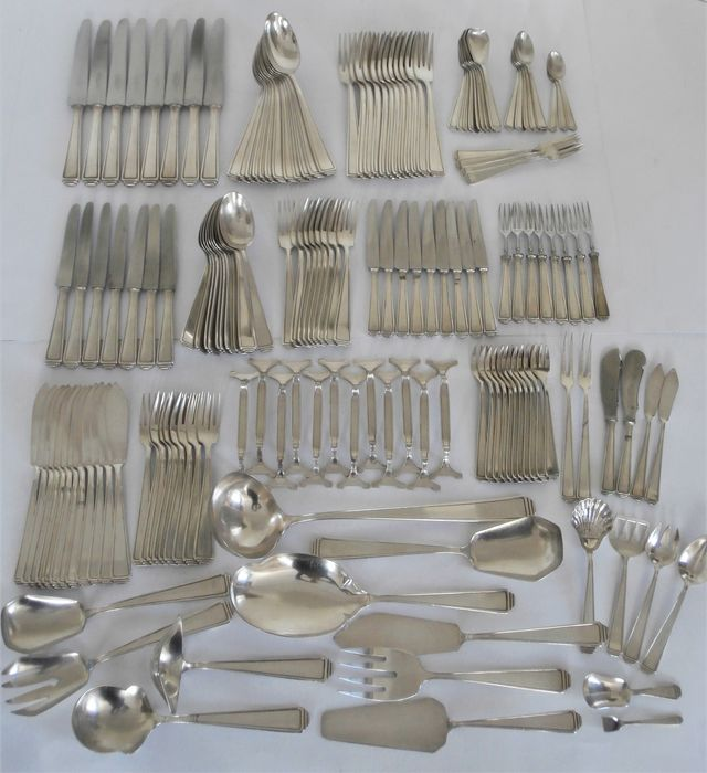 Art Deco silver-plated cutlery including fish cutlery + serving cutlery 163-piece - model 489 - approx. 1925 (163)