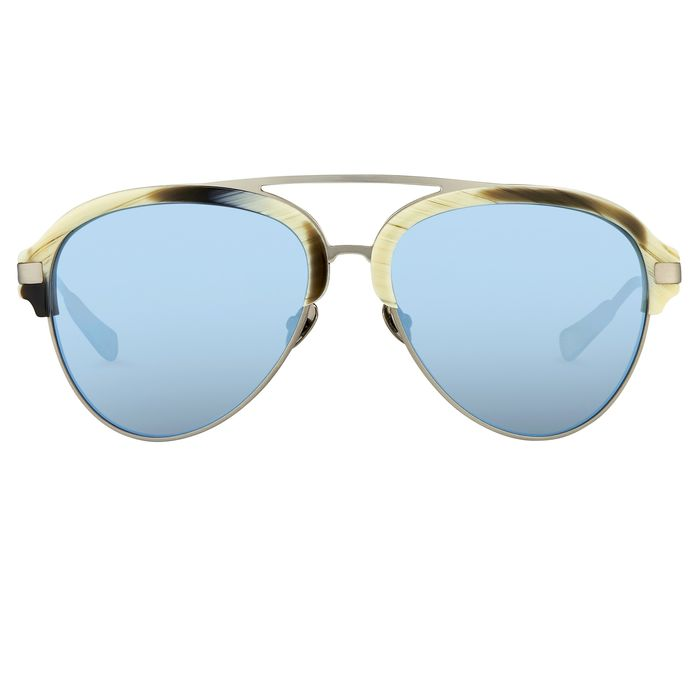 "Kris Van Assche - Aviator Brown Horn Brushed Silver and Blue Mirror Lenses - KVA74C4SUN ""NO RESERVE PRICE"" Sunglasses"