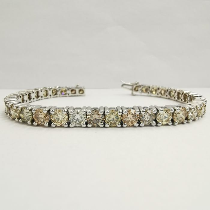 Fancy Mix Colors all vs1 top top quality - 14 kt Weißgold - Armband - 17.70 ct Diamant - KEIN RESERVE GWLAB UHR VIDEO