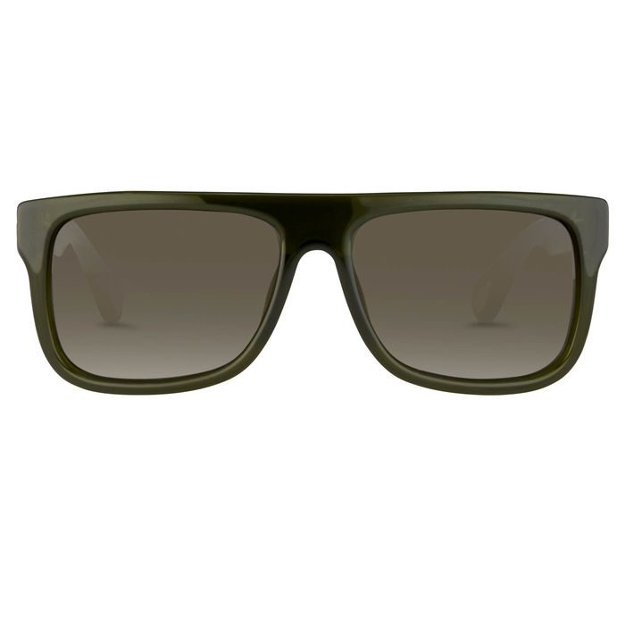 Ann Demeulemeester - Flat Top Green 925 Silver with Green Lenses CAT3 AD2C7SUN Sunglasses