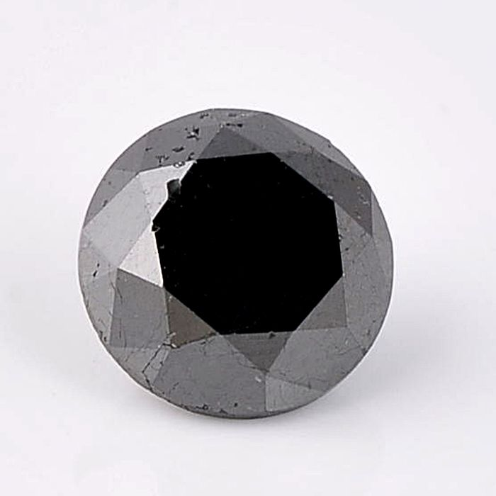 1 pcs Diamond - 5.10 ct - Brilliant, Round - fancy black - Not mentioned on certificate