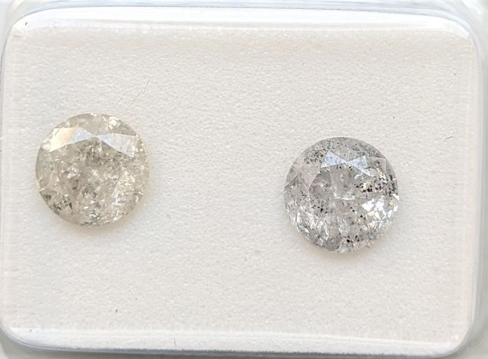2 pcs Diamants - 1.60 ct - Brillant - F, G, H, I, J, K, L - I3 (piqué), No Reserve Price