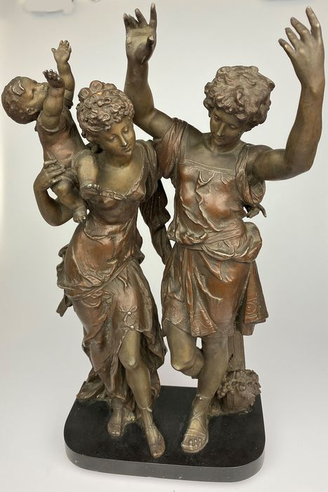 Sculpture, sculpture group of 3 figures - Spelter - Late 19th century