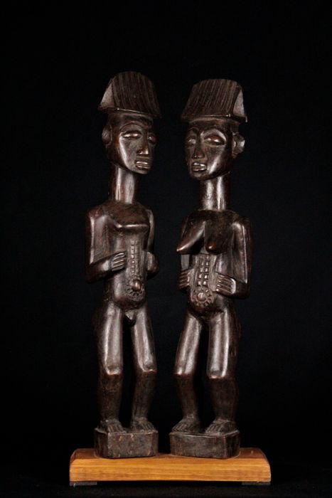 Very rare old couple statuettes with their child - Wood - Senufo - Côte d'Ivoire