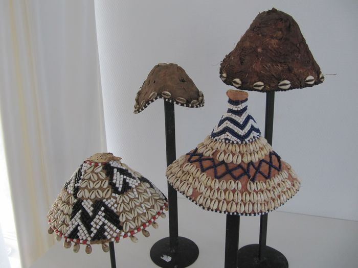 Kings hats (4) - Raffia and Cowrie Shells - DR Congo