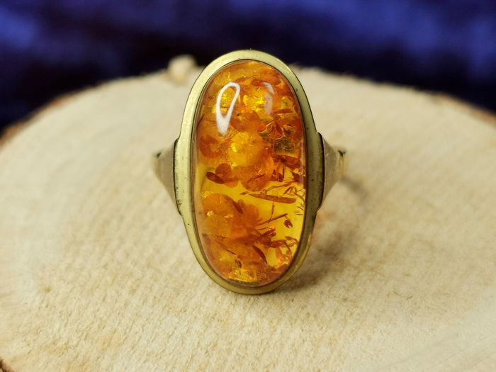 1950 Germany - 333 (8K with Hallmark) Or - Bague Ancien ambre baltique antique