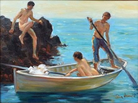 Pia Vitale - 20th-21th century - young men on the coast