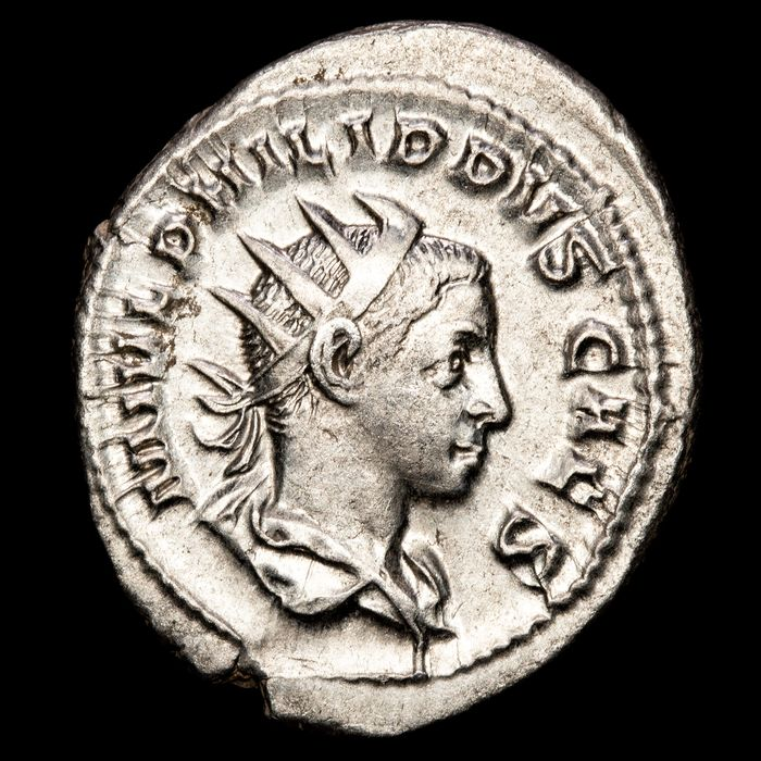Roman Empire - AR Antoninianus, Philip II (AD 244-249). Rome - PRINCIPI IVVENT, Philip as Prince of the Youth standing - Silver
