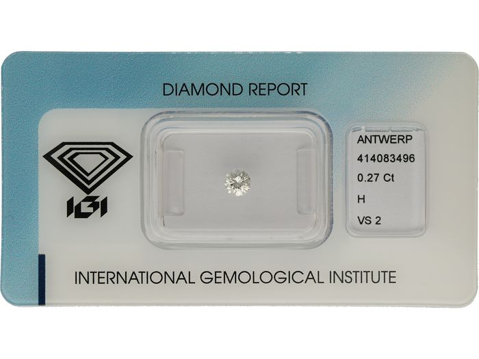 1 pcs Diamond - 0.27 ct - Brilliant - H - VS2 ***No Reserve***