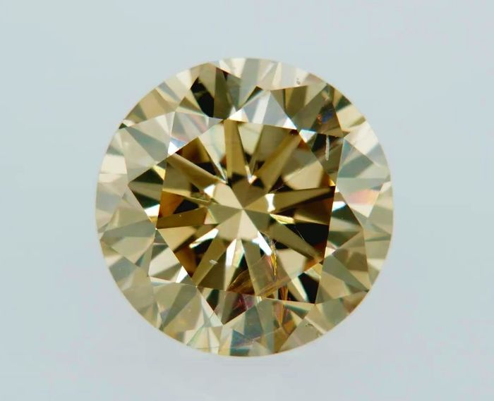 1 pcs Diamond - 1.36 ct - Round - fancy orange brown - VS1