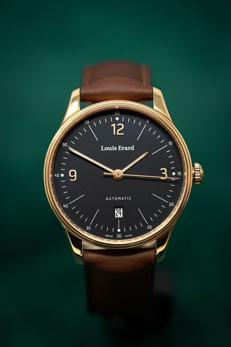 Louis Erard - Automatic Watch 1931 Rose Gold Black Dial Brown Leather Strap Sapphire Crystal Swiss Made - 69287PR12.BVR01 - Men - Brand New
