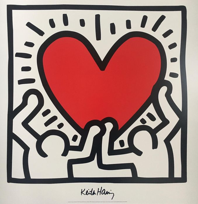 Keith Haring (after) - Untitled 1988 Heart - anii `90