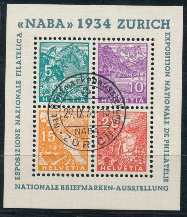 Schweiz 1934 - NABA block with First Day Cancel - sbk 1