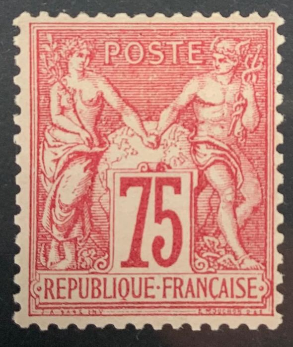 Frankreich 1876/1876 - France, No. 71, 75 centimes carmine (I), type Sage, superb copy, signed Brun, rare as well! - Yvert 71