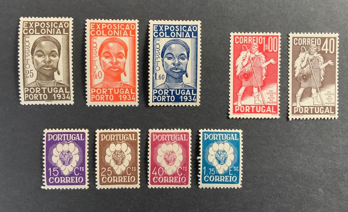 Portugal 1934/1946 - Group of sets of the 1st centennial - Mundifil 561/563, 577/578, 579/582