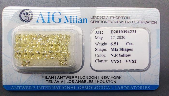 26 pcs Diamantes - 6.51 ct - Cojín, Radiante - fancy yellow - VVS1, VVS2