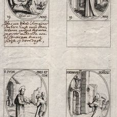 Jacques Callot ( 1592-1632 ) - Originals - Four etchings: S. Bernardino of Siena .... Images of Saints - First edition