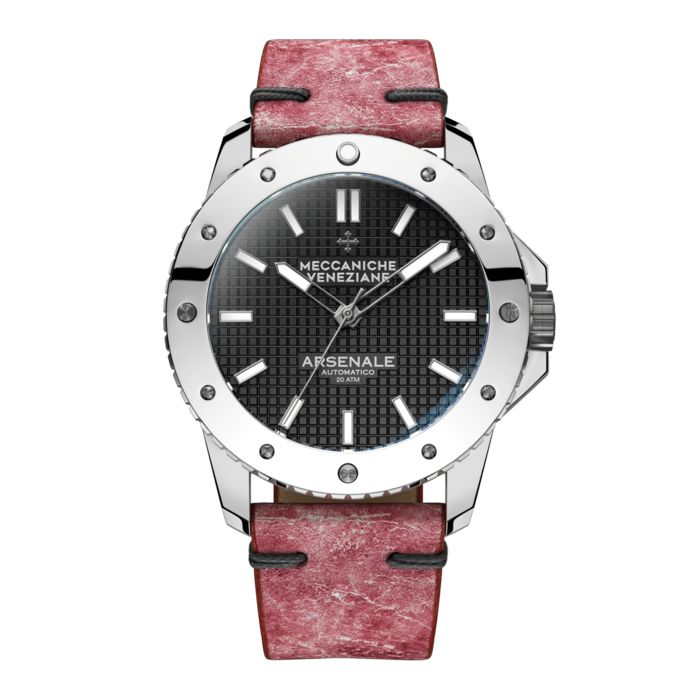 """Meccaniche Veneziane - Automatic Arsenale 4.0 Chromed with Pink Italian Leather Strap - 1303005 """"NO RESERVE PRICE"""" - Heren - 2011-heden"""