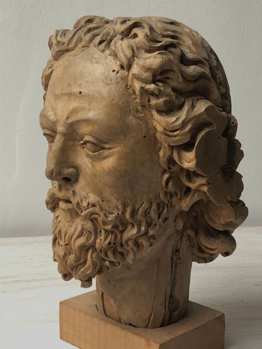 Sculpture, Head of a man with a beard - Biedermeier - Wood - 19th century