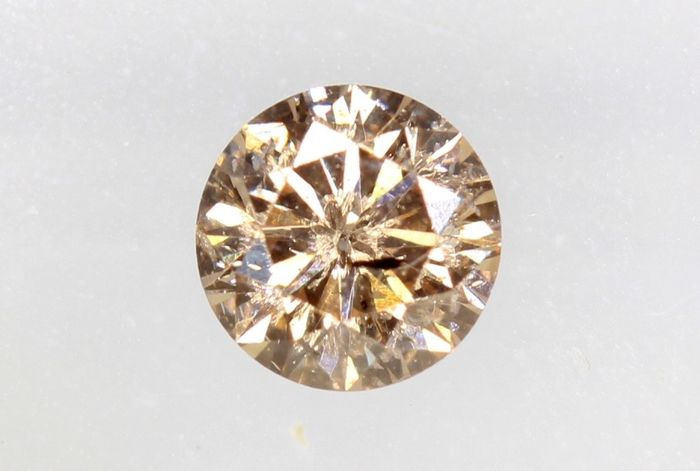 Diamant - 0.20 ct - Brillant - Brownish Orangy Pink - P1 - * NO RESERVE PRICE *