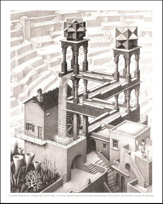 M. C. Escher - Waterfall (La Cascada) - Perspectiva Imposible XXL - 1961