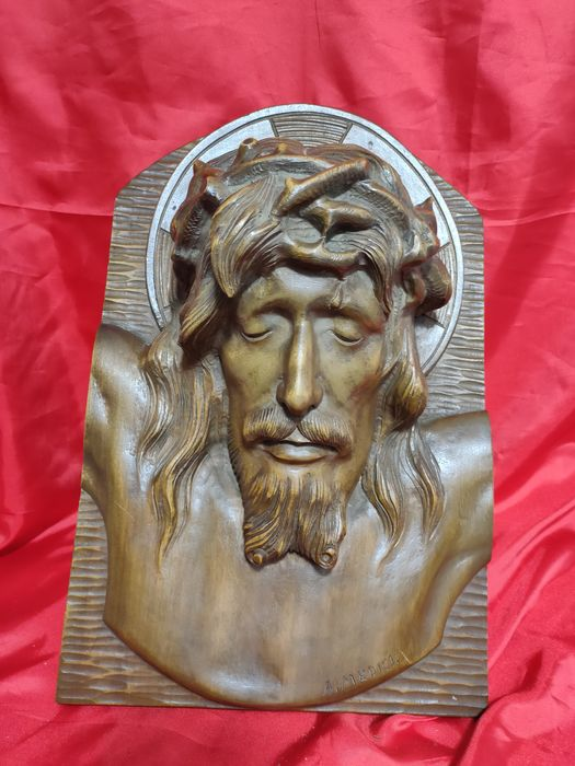A. Medici - Sculpture, Face of Christ (1) - Wood, Carved - First half 20th century