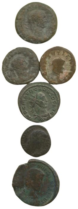 Empire romain. Lot of 6 coins,  Alexandria. 3 BI Tetradrachms (a.o. Diocletian, 284-305) / Antoninianus, Carus (282-283). Antiochia