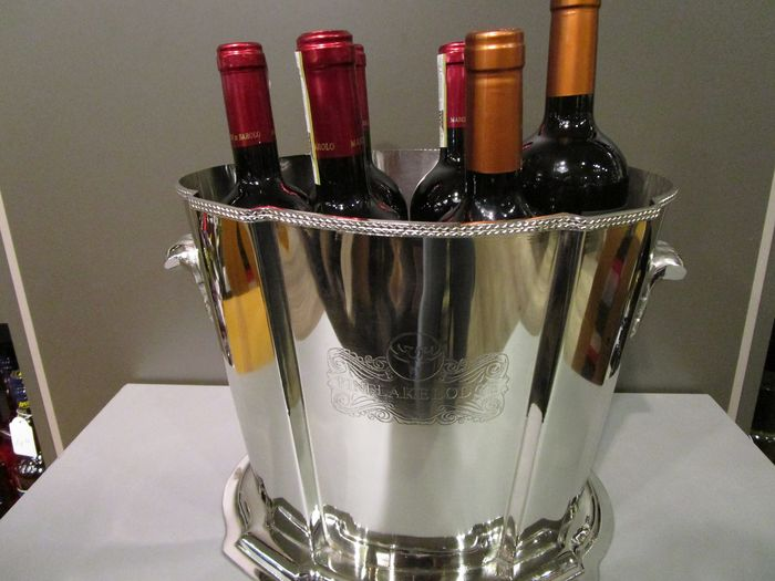 silver plated wine ice-bucket with inscription 'Pinelake Lodge'