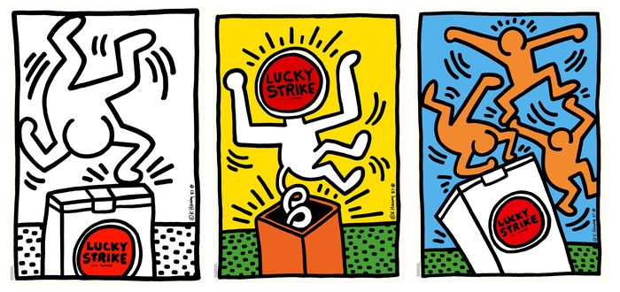 """Keith Haring (after) - Lucky Strike """"It's Toasted"""" (yellow - white - blue)"""