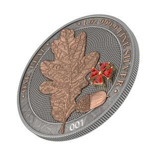 "Germania. 5 Mark 2019 ""OAK LEAF RED CRYSTAL CROSS""  Numbered - 1 Oz"