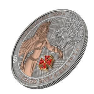 Germania. 5 Mark 2020 GERMANIA RED CRYSTAL CROSS Numbered - 1 Oz
