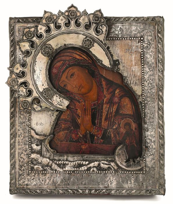 Icon, Russian Orthodox Madonna of the Deposition with riza signed in silver 33x27 cm - Silver, Wood - Late 18th century